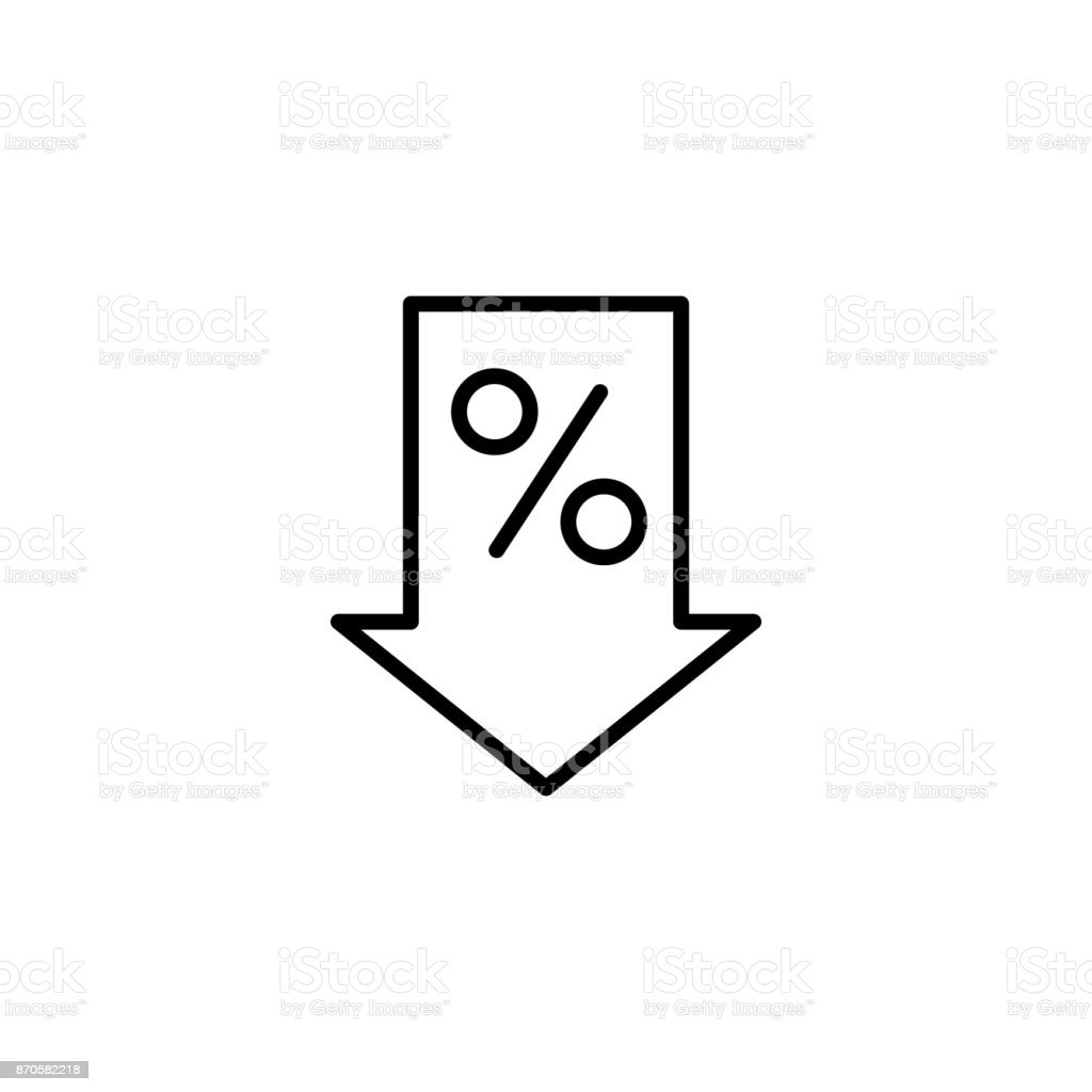 line percent down icon on white background vector art illustration
