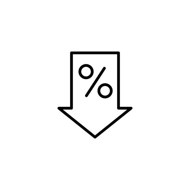 line percent down icon on white background thin line percent down icon on white background low stock illustrations