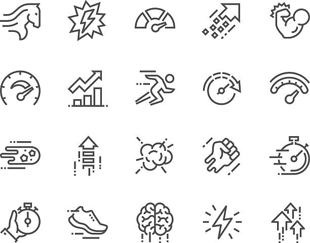 Line Performance Icons Simple Set of Performance Related Vector Line Icons. Contains such Icons as Power, Speed, Graph, Sprint, Boost, Brain, Gain and more. Editable Stroke. 48x48 Pixel Perfect. high up stock illustrations