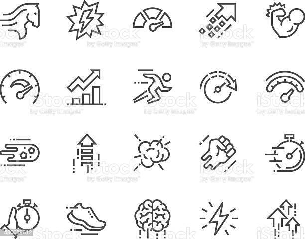 Line Performance Icons Stockvectorkunst en meer beelden van Aaien