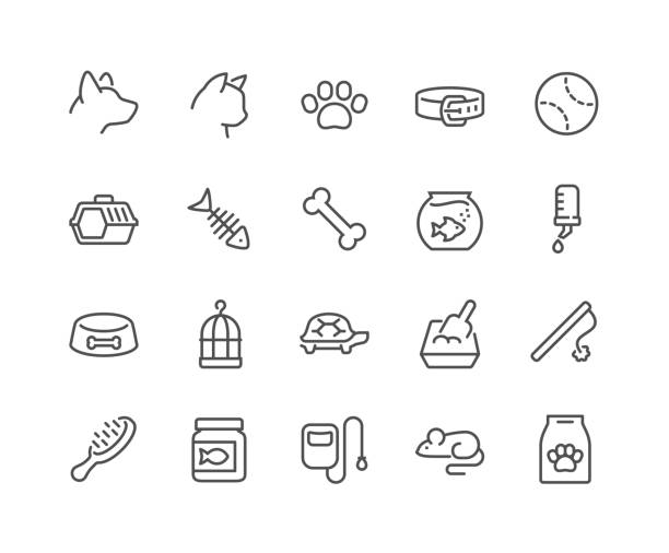 line pet icons - reptiles stock illustrations