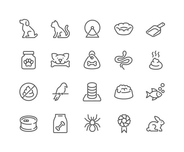 Line Pet Icons Simple Set of Pet Related Vector Line Icons. Contains such Icons as Dog, Cat, Bird, Spider, Animal Food and more. Editable Stroke. 48x48 Pixel Perfect. dog stock illustrations