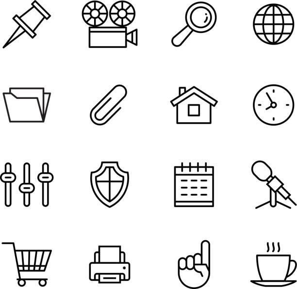 회선 전화 아이콘 세트 격리됨에 일러스트레이션. 아이콘 비즈니스 - 클립 문구류 stock illustrations