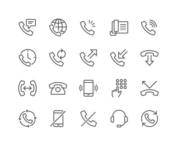 Line Phone Icons Simple Set of Phone Related Vector Line Icons. Contains such Icons as Global Calls, Online Support, Mobile Phone and more. Editable Stroke. 48x48 Pixel Perfect. telephone stock illustrations