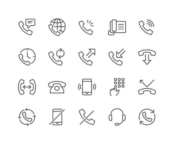 illustrations, cliparts, dessins animés et icônes de icônes de téléphone ligne - téléphone