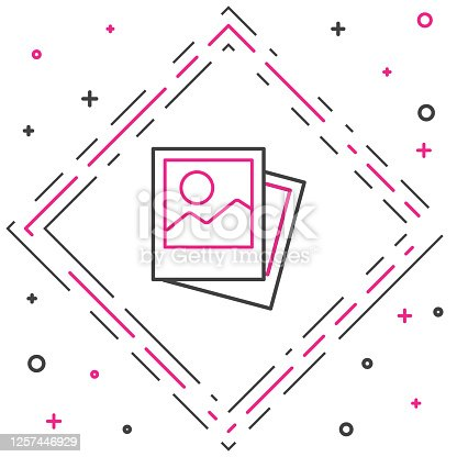 istock Line Photo icon isolated on white background. Colorful outline concept. Vector Illustration 1257446929