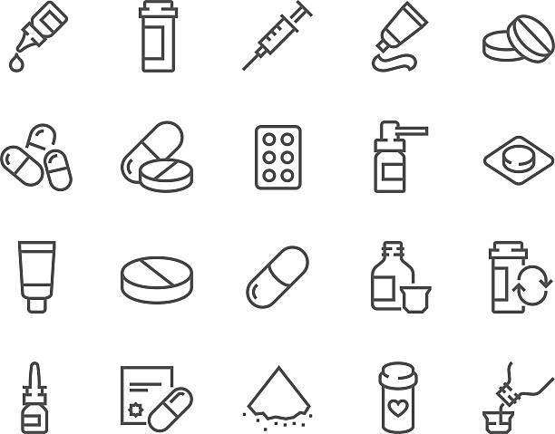 linia ikony pigułki - kapsułka stock illustrations