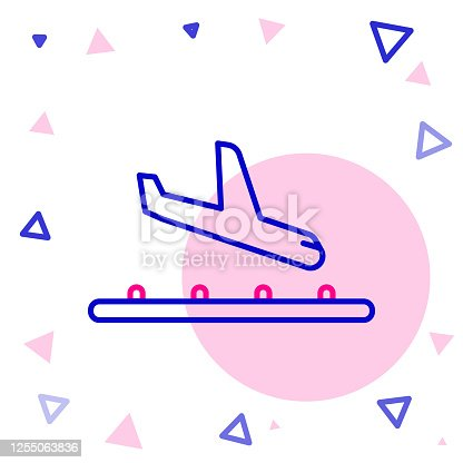 Line Plane landing icon isolated on white background. Airplane transport symbol. Colorful outline concept. Vector Illustration