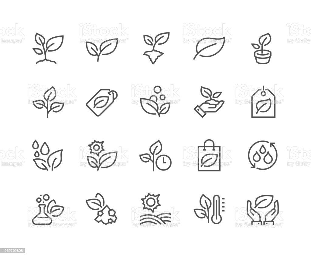 Line Plants Icons vector art illustration