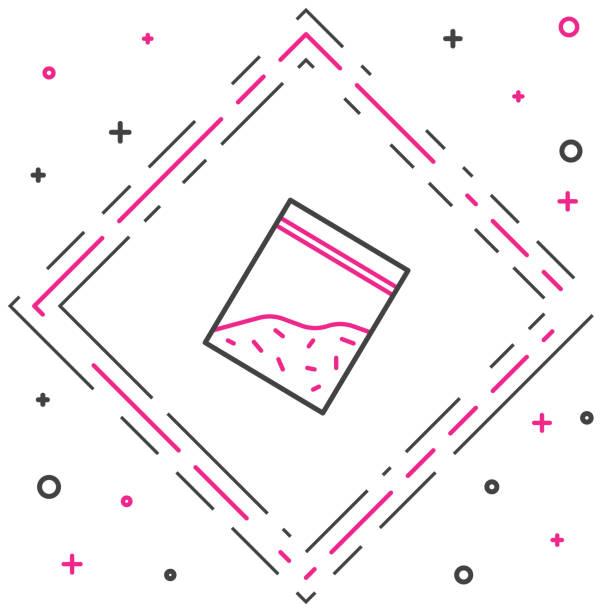 bildbanksillustrationer, clip art samt tecknat material och ikoner med line plastpåse med drogikon isolerad på vit bakgrund. hälsofara. färgglada disposition koncept. vektor illustration - amphetamine pills