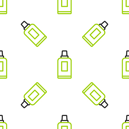 Line Plastic bottle for laundry detergent, bleach, dishwashing liquid or another cleaning agent icon isolated seamless pattern on white background. Vector