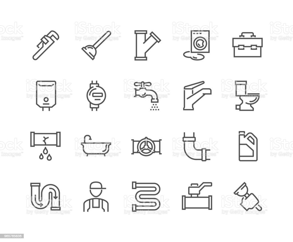 Line Plumber Icons - Royalty-free Airtight stock vector