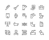 Simple Set of Plumber Related Vector Line Icons. Contains such Icons as Leaking Washing Machine, Water Heater, Tool Box and more. Editable Stroke. 48x48 Pixel Perfect.