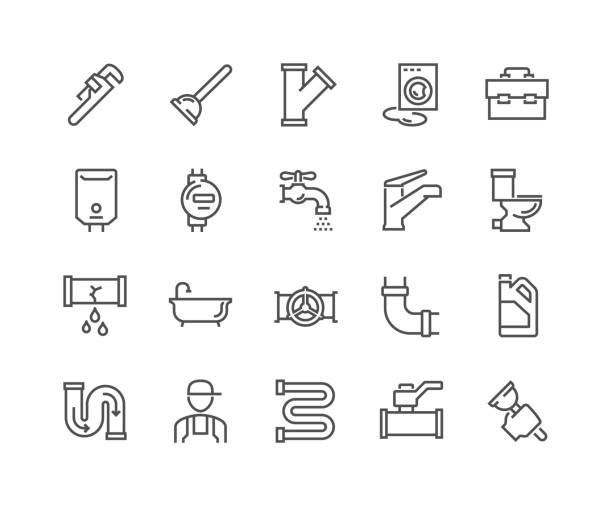 line plumber icons - plumber stock illustrations, clip art, cartoons, & icons