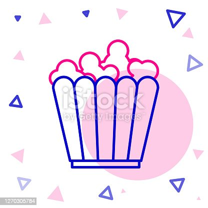 Line Popcorn in cardboard box icon isolated on white background. Popcorn bucket box. Colorful outline concept. Vector Illustration