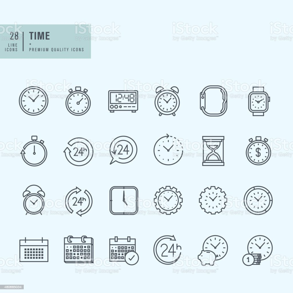 NEW Line Positive Icons vector art illustration