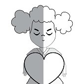 line pretty girl with heart and casual wear