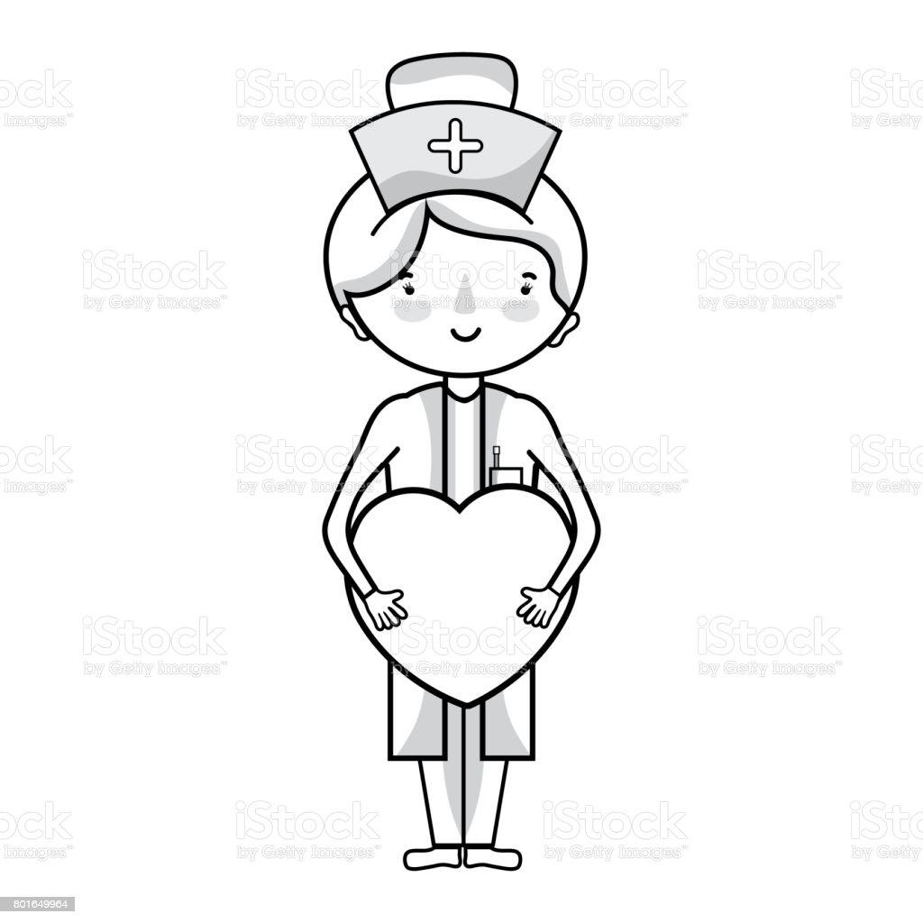 professionelle Pflegekraft Linie mit Herz in Tha Hände – Vektorgrafik
