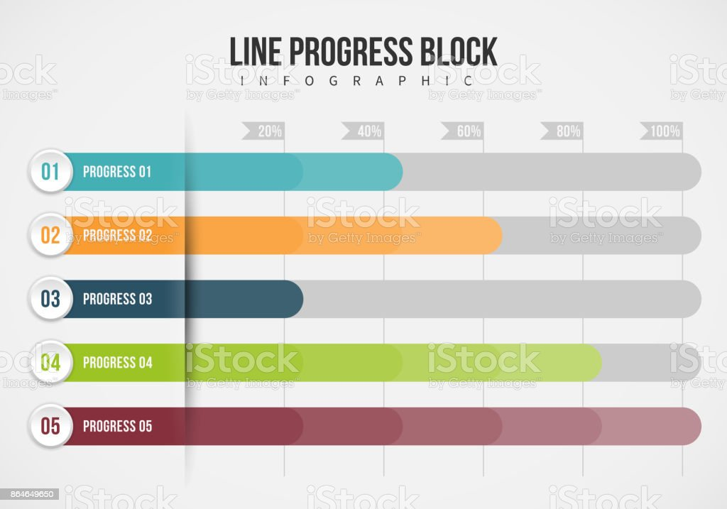 Line Progress Block Infographic vector art illustration