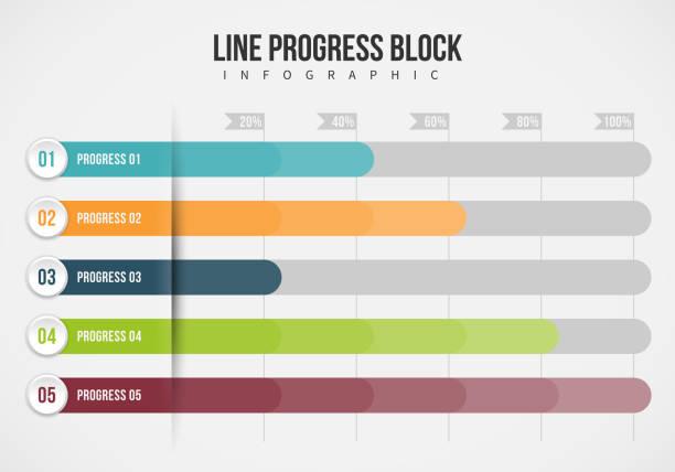 Line Progress Block Infographic vector art illustration