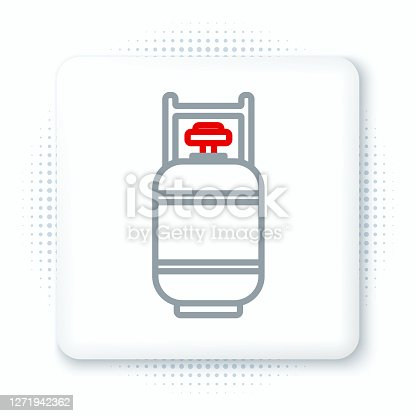 istock Line Propane gas tank icon isolated on white background. Flammable gas tank icon. Colorful outline concept. Vector 1271942362