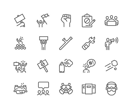 Line Protest Icons