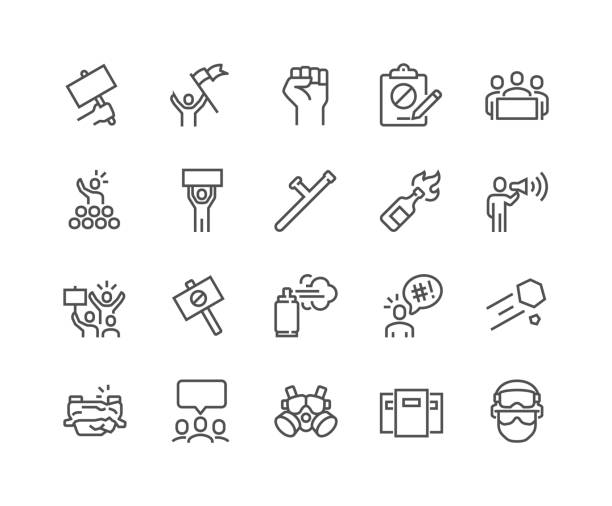 Line Protest Icons Simple Set of Protest Related Vector Line Icons. Contains such Icons as Petition, Police Forces, Riot, Strike and more. Editable Stroke. 48x48 Pixel Perfect. crisis stock illustrations