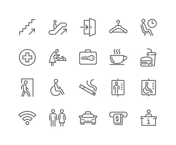 Line Public Navigation Icons Simple Set of Public Navigation Related Vector Line Icons. Contains such Icons as Cloakroom, Elevator, Exit, Taxi, ATM and more. Editable Stroke. 48x48 Pixel Perfect. waiting stock illustrations