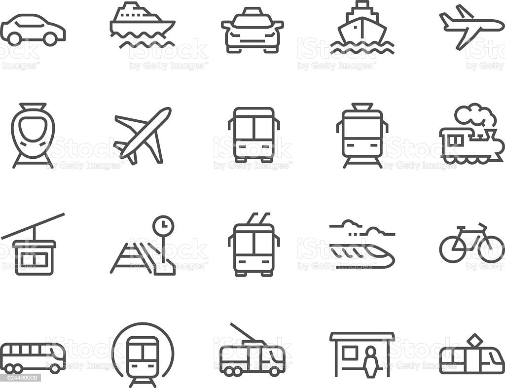 Line Public Transport Icons royalty-free line public transport icons stock illustration - download image now