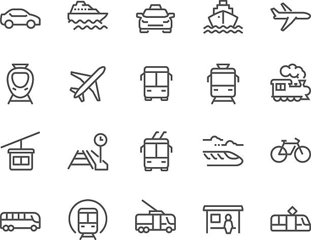 Line Public Transport Icons vector art illustration