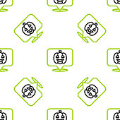 Line Pumpkin icon isolated seamless pattern on white background. Happy Halloween party. Vector.