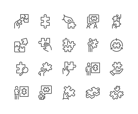 Simple Set of Puzzle Related Vector Line Icons.  Contains such Icons as Thinking Man, Problem Discussion, Puzzle Pieces and more. Editable Stroke. 48x48 Pixel Perfect.