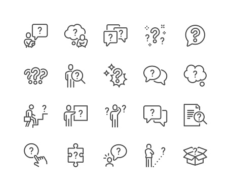 Simple Set of Question Related Vector Line Icons.  Contains such Icons as Puzzle, Confused Man, Question Mark and more. Editable Stroke. 48x48 Pixel Perfect.