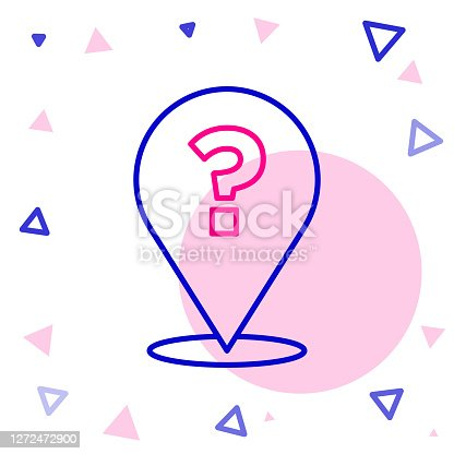 istock Line Question mark icon isolated on white background. FAQ sign. Copy files, chat speech bubble and chart. Colorful outline concept. Vector 1272472900