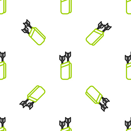 Line Quiver with arrows icon isolated seamless pattern on white background. Vector