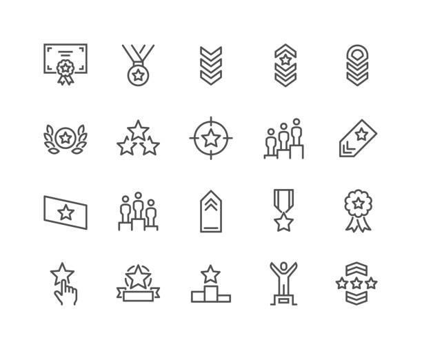 Line Ranking Icons Simple Set of Ranking Related Vector Line Icons.  Contains such Icons as Star Rating, First Place, Shoulder Strap and more. Editable Stroke. 48x48 Pixel Perfect. high up stock illustrations