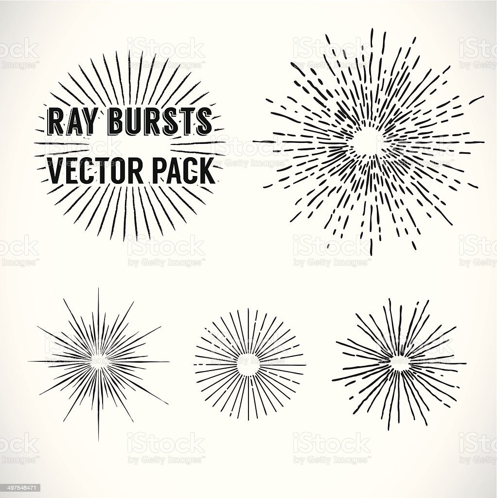 Line Ray Burst. vintage style - vector set vector art illustration