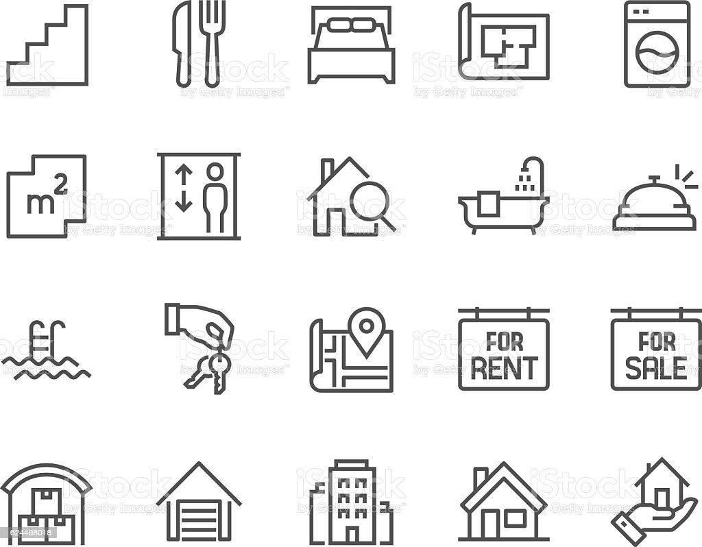 Line Real Estate Icons vector art illustration