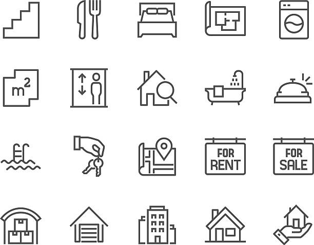 Line Real Estate Icons Simple Set of Real Estate Related Vector Line Icons. Contains such Icons as Map, Plan, Bedrooms, Area, Bell and more. Editable Stroke. 48x48 Pixel Perfect. bedroom stock illustrations