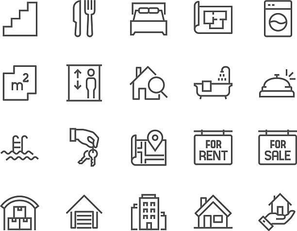 stockillustraties, clipart, cartoons en iconen met line real estate icons - flat icons
