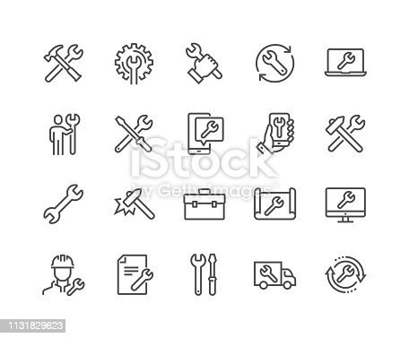 Simple Set of Repair Related Vector Line Icons.  Contains such Icons as Screwdriver, Engineer, Tech Support and more. Editable Stroke. 48x48 Pixel Perfect.