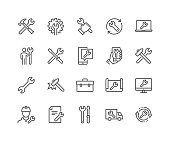 Simple Set of Repair Related Vector Line Icons. \nContains such Icons as Screwdriver, Engineer, Tech Support and more.\nEditable Stroke. 48x48 Pixel Perfect.
