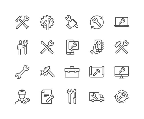 Line Repair Icons Simple Set of Repair Related Vector Line Icons.  Contains such Icons as Screwdriver, Engineer, Tech Support and more. Editable Stroke. 48x48 Pixel Perfect. engineer stock illustrations