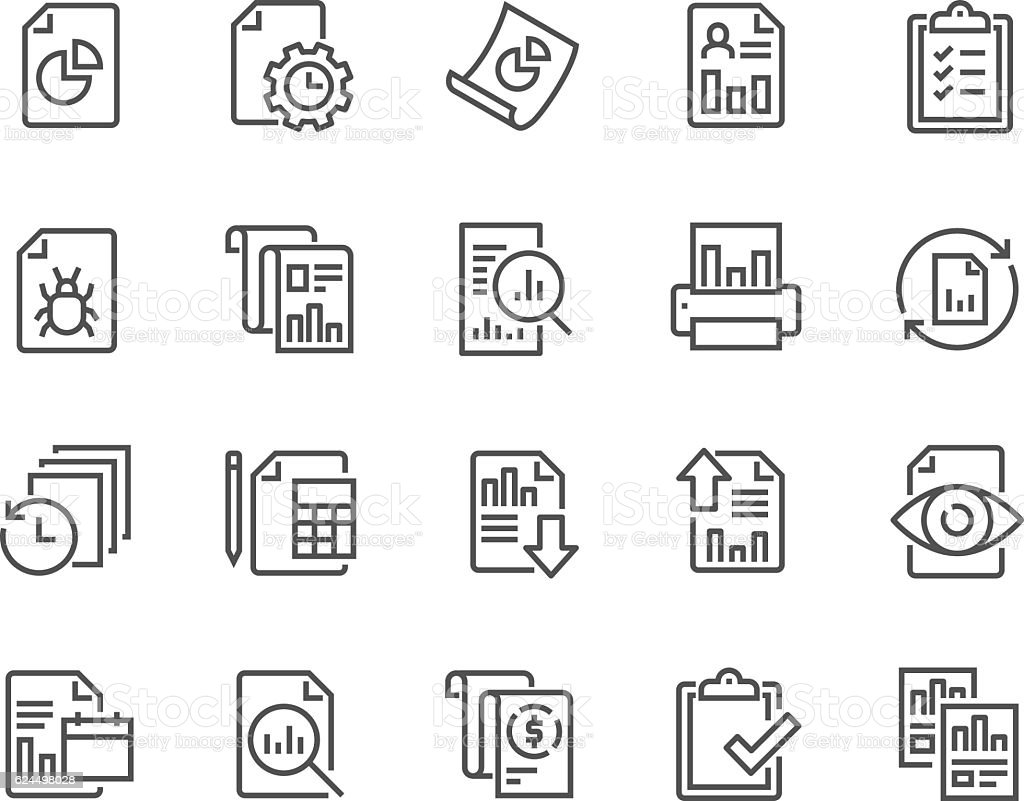 Line Report Icons vector art illustration