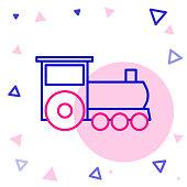 Line Retro train icon isolated on white background. Public transportation symbol. Colorful outline concept. Vector Illustration