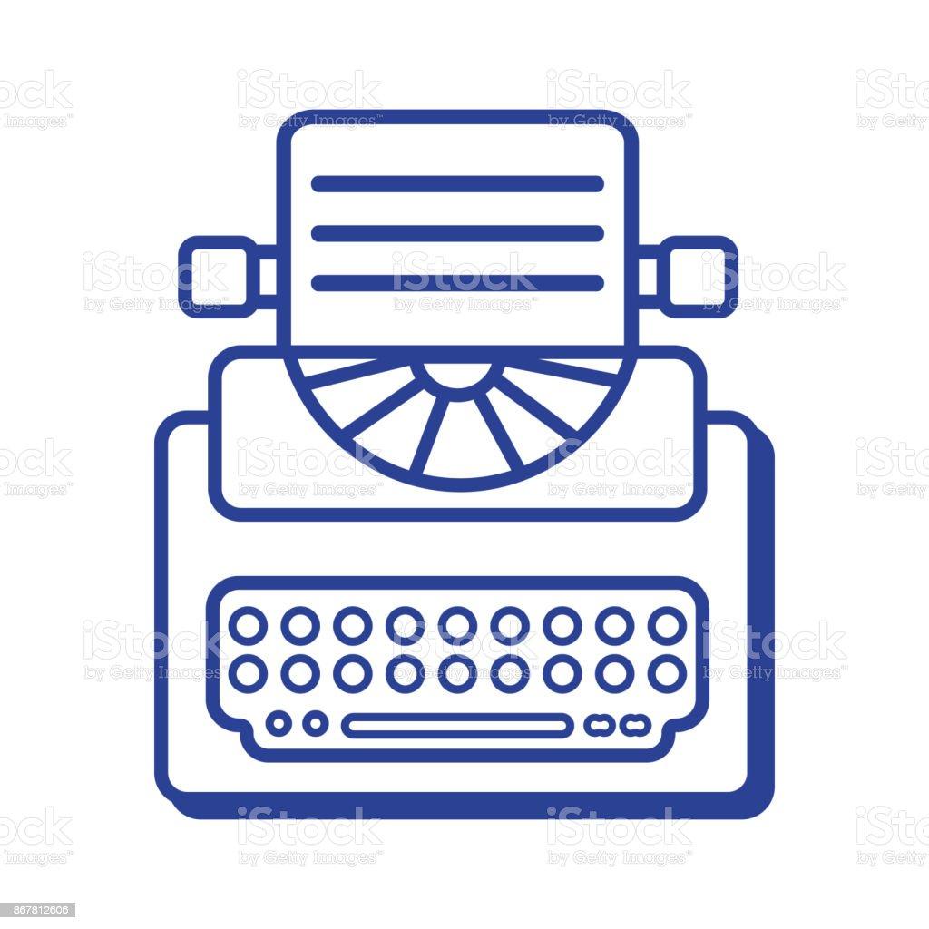 line retro typewriter equipment with business document vector art illustration