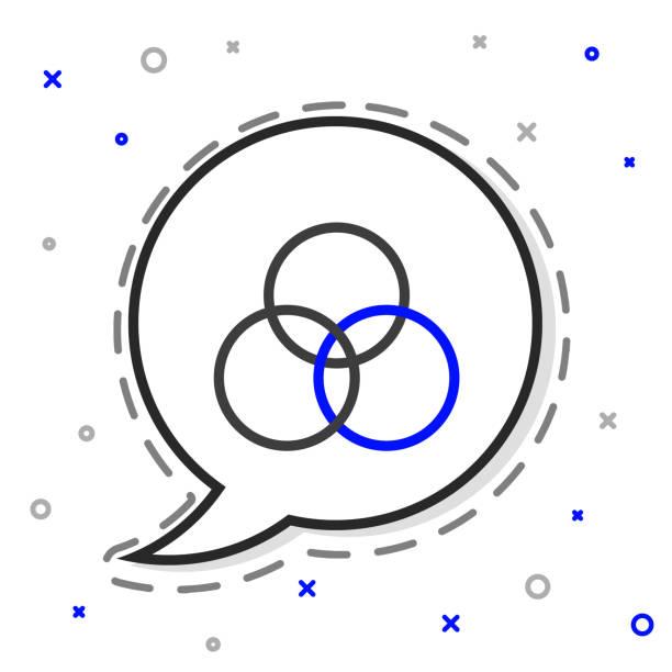 illustrazioni stock, clip art, cartoni animati e icone di tendenza di linea rgb e cmyk icona di miscelazione dei colori isolati su sfondo bianco. concetto di contorno colorato. illustrazione vettoriale - huế