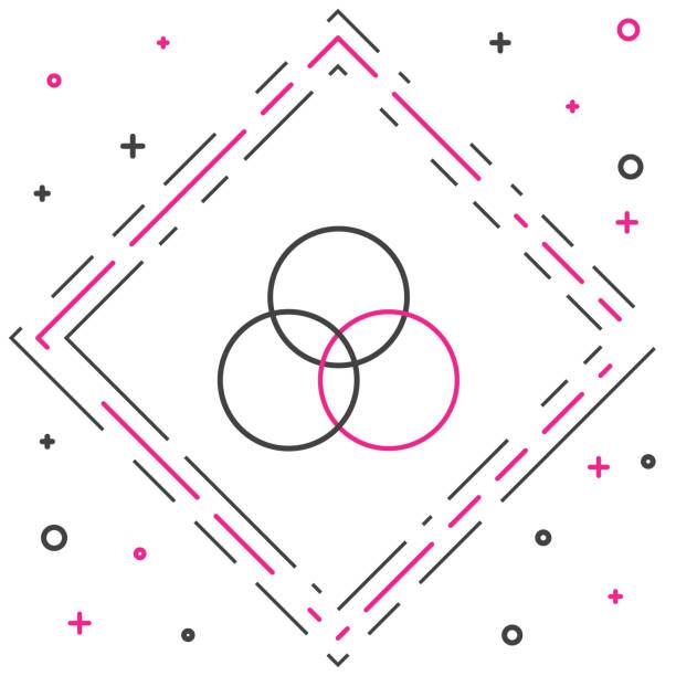 illustrazioni stock, clip art, cartoni animati e icone di tendenza di icona di miscelazione dei colori rgb e cmyk della linea isolata su sfondo bianco. concetto di contorno colorato. illustrazione vettoriale - huế
