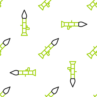 Line Rocket launcher with missile icon isolated seamless pattern on white background. Vector