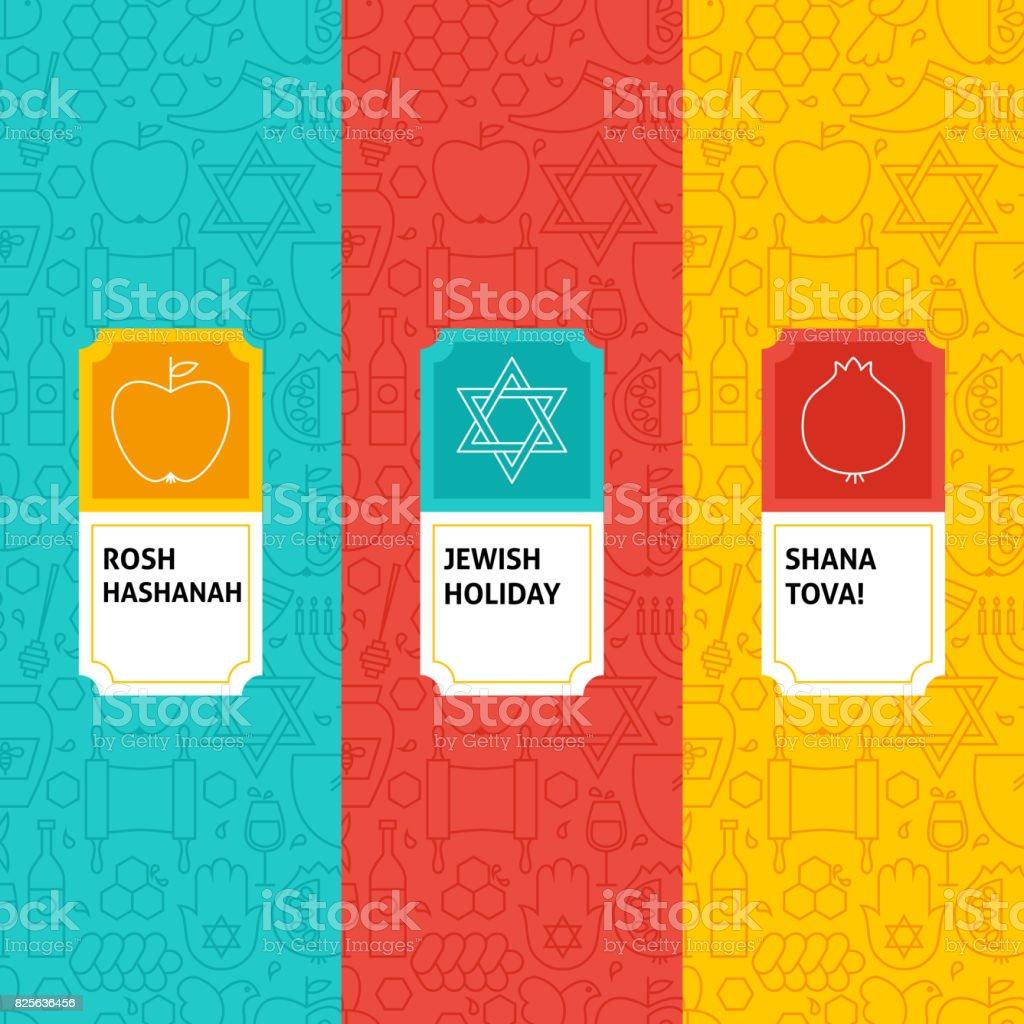 Line Rosh Hashanah Patterns Set vector art illustration